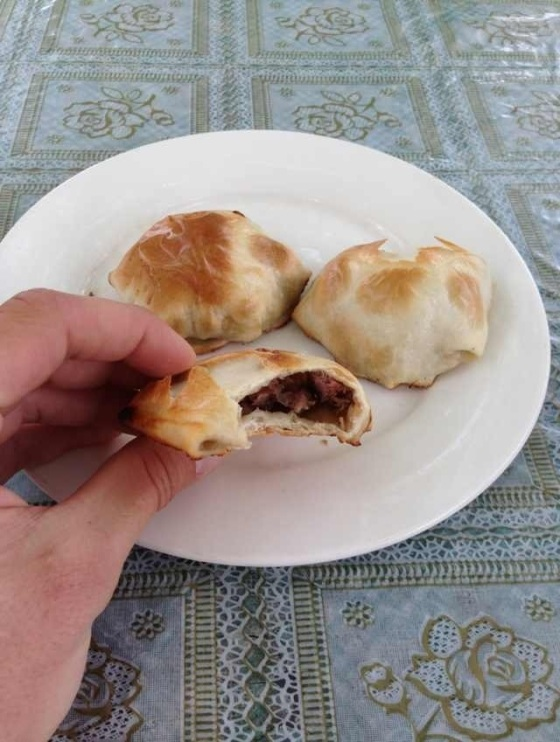 The Xinjiang pasty filled with.....you guessed it....mutton. In Hoxud, Xinjiang Province, China.