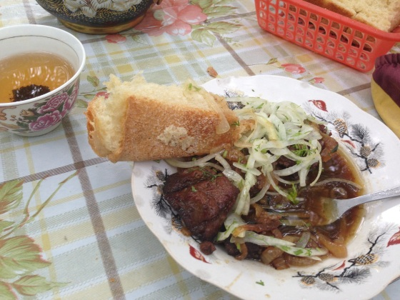 Juicy lamb and onions. Tasted at 10 am. Awesome. Somewhere in the Pamir, Tajikistan.