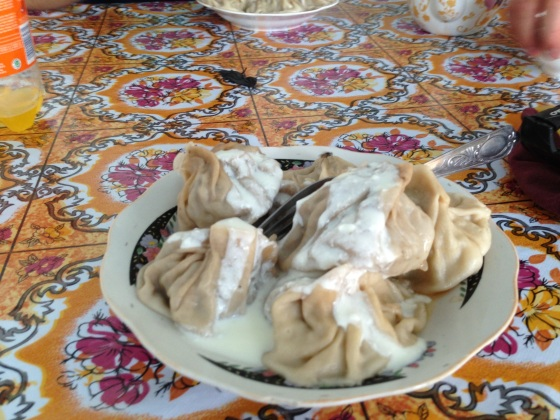 Manti, a sign of the Chinese influence in Central Asian cuisine. The cream on top is definitely a local addition, though. Somewhere in the Pamir, Tajikistan