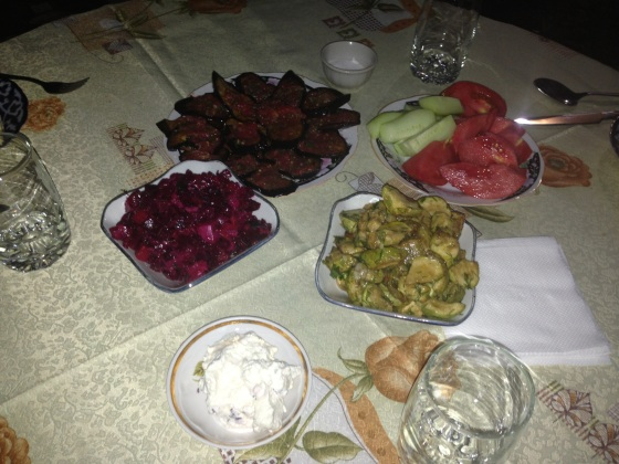 "Grilled aubergines, marinated courgettes, beetroot salad, home made cream cheese. The chef was radiated from the Order of Uzbek Chefs for ""excessive diversity"" and ""inconsiderate tastiness"". In Samarkand, Uzbekistan"
