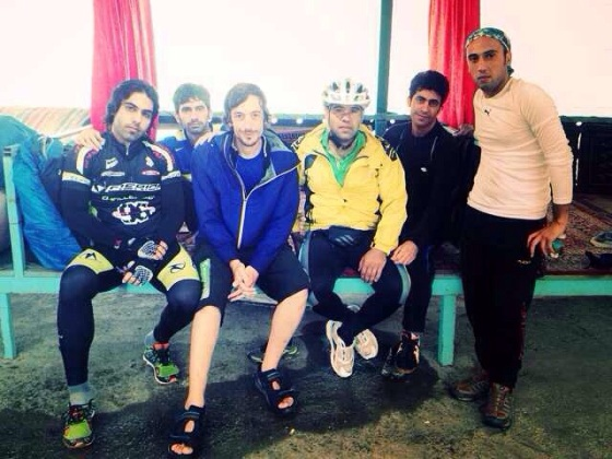 With the Ardabil bike club, in the rainy Iranian mountains.