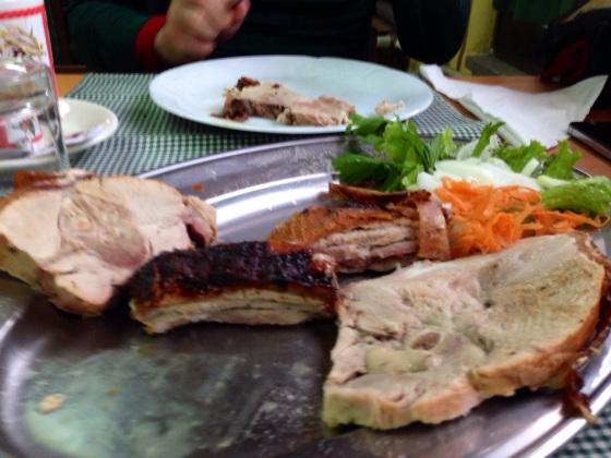 Slovenian piglet. The best food we had in Slovenia by far. In Kozina, Slovenia.