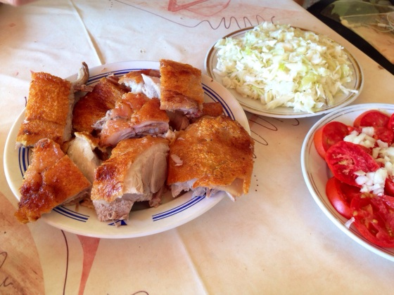 Roasted piglet. In Loznica, Serbia.