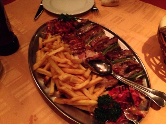More grilled meat, more chips. In Serbia.