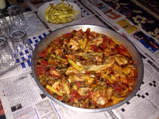 Our friend Bayram's excellent home-made Kurdish meal. In Kayseri, Turkey.