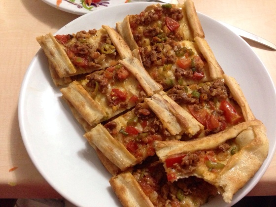 An excellent Turkish pide. A bit like a pizza, but with a de. In Kirikkale, Turkey.