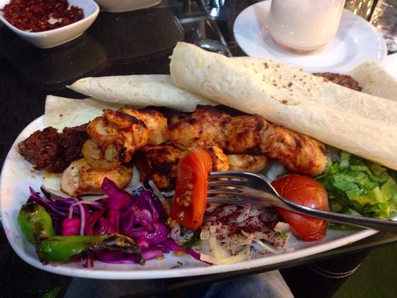 Delicious chicken kebab. In Erzurum, Turkey.