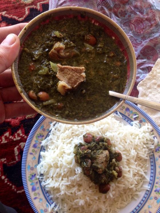Beans, herbs and mutton ragout. Near Marand, Iran.